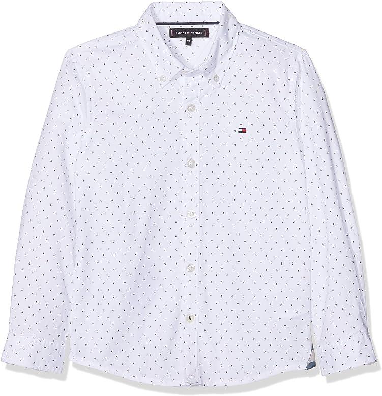 Tommy Hilfiger Mini Pattern Oxford Shirt Blusa, Blanco (White Yaf), 140 (Talla del fabricante: 10) para Niños: Amazon.es: Ropa y accesorios