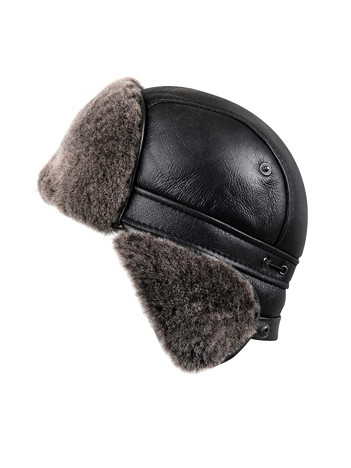 3e128eb5728 Amazon.com   Zavelio Unisex Shearling Sheepskin Aviator Russian Ushanka  with Snap Hat   Sports   Outdoors
