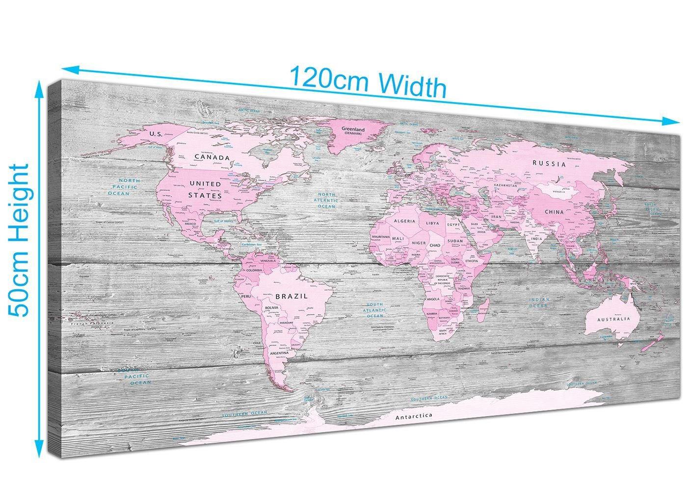 Modern Map Of The World.Wallfillers Large Pink Grey Map Of World Atlas Canvas Wall Art Print Maps Modern 120cm Wide 1302