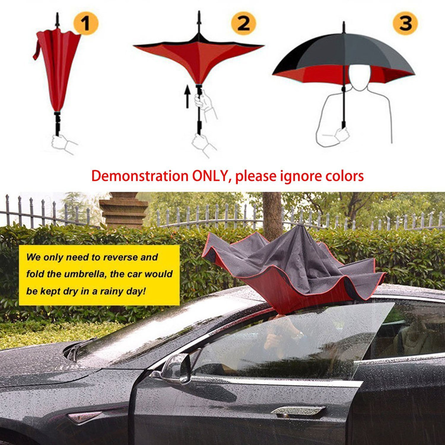 Xjamus colorful Waterproof Reverse Folding Double Layer Inverted Umbrellas with C-shaped Handle and Auto-close function (pink)