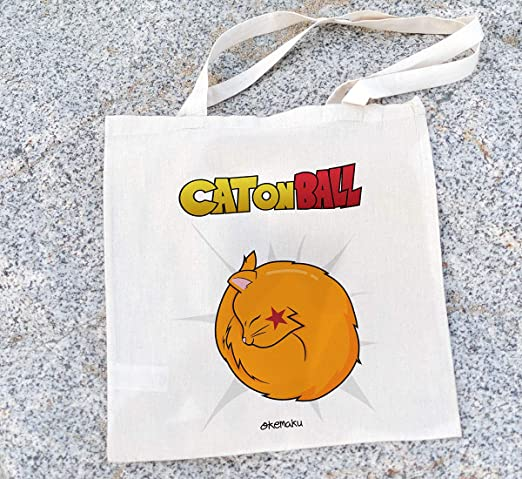 Okemaku - Tote Bag Mensaje: Cat on Ball Parodia Dragon Ball ...