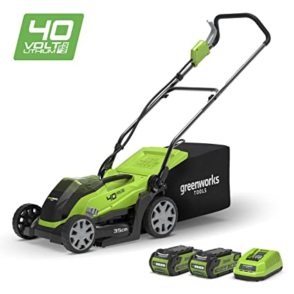 Greenworks Tools G40LM35K2X (Art No: 2501907UC) Lawn Mower with 2 x 2 A  Batteries and Charger, 40 V, Green, 35 cm