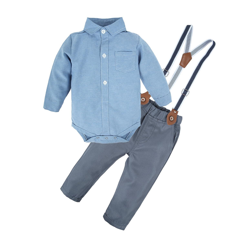 BIG ELEPHANT Baby Jungen 2 Stück Hosen Shirt Kleidung Set Strampler mit Hosenträger T13