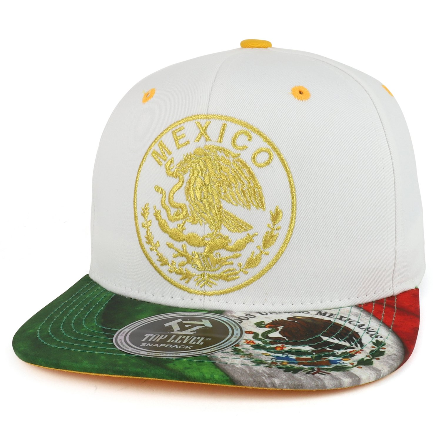 Trendy Apparel Shop Mexico Coat of Arms Golden Eagle Emblem Embroidered Snapback Cap - White
