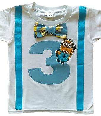 Amazon Com Perfect Pairz 3rd Birthday Shirt Boys Minions Tee Clothing