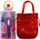 126 PCS Knitting Crochet Sewing Accessories Supplies Tool Kit Cable Needles Stitch Holder with Storage Case and Knitting Bag
