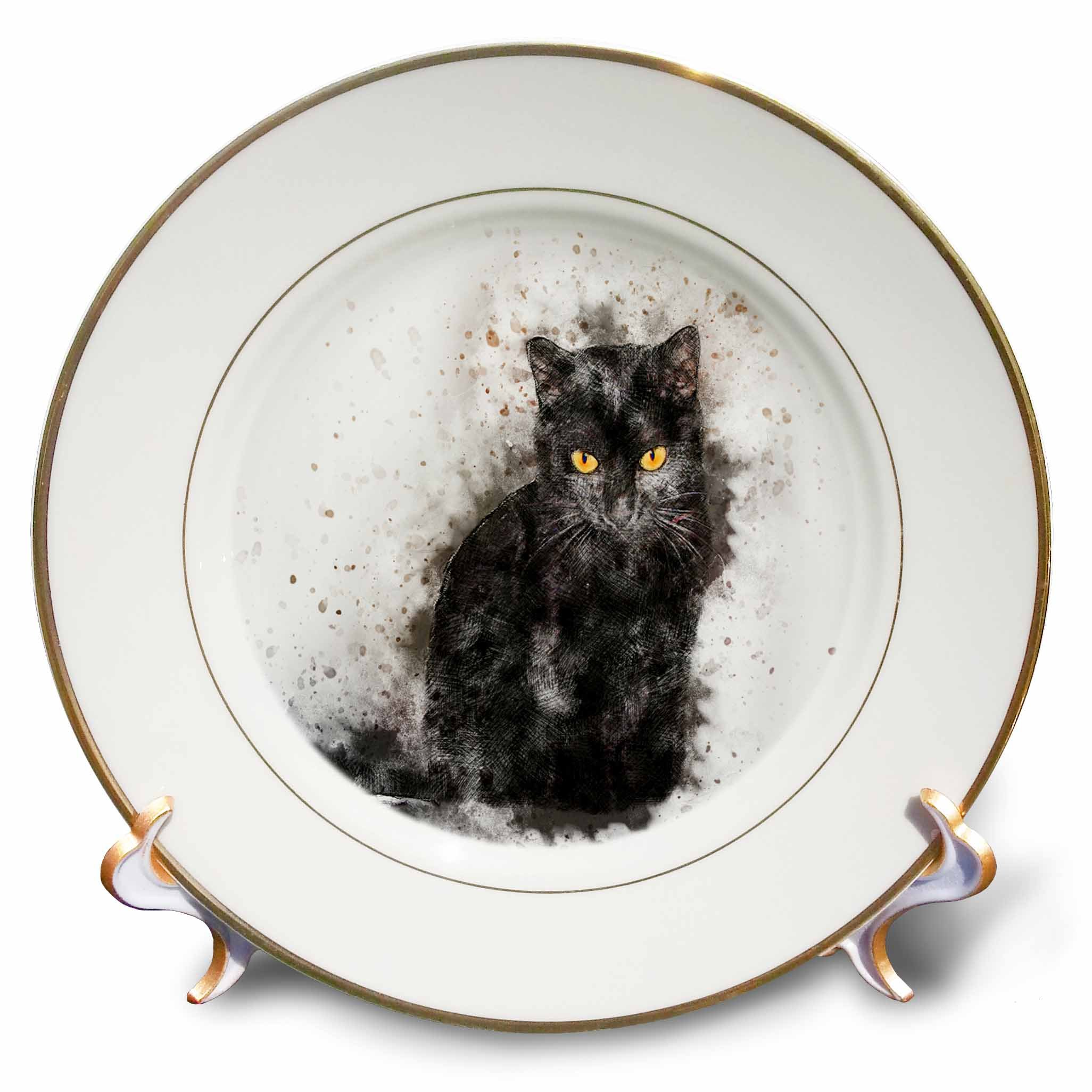 3dRose Sven Herkenrath Animal - Funny Watercolor Cat Pet Animal - 8 inch Porcelain Plate (cp_280273_1)