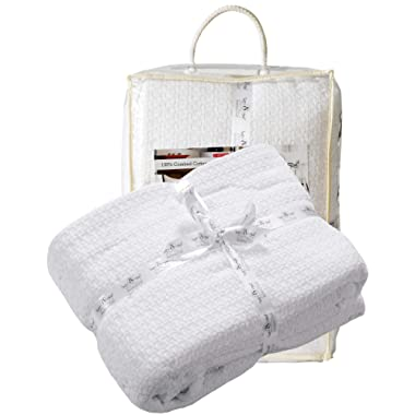 100%Soft Premium Cotton Thermal Blanket in Basket weave 102x90King White Color,All Season Blanket,Breathable Cotton Thermal Blanket,Light Thermal Blanket,Perfect for Layering Any Bed-Provides Comfort