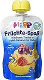 Hipp Früchte-Spaß Himbeere-Traube in Apfel-Banane mit Hafer, 6er Pack (6 x 90 g)