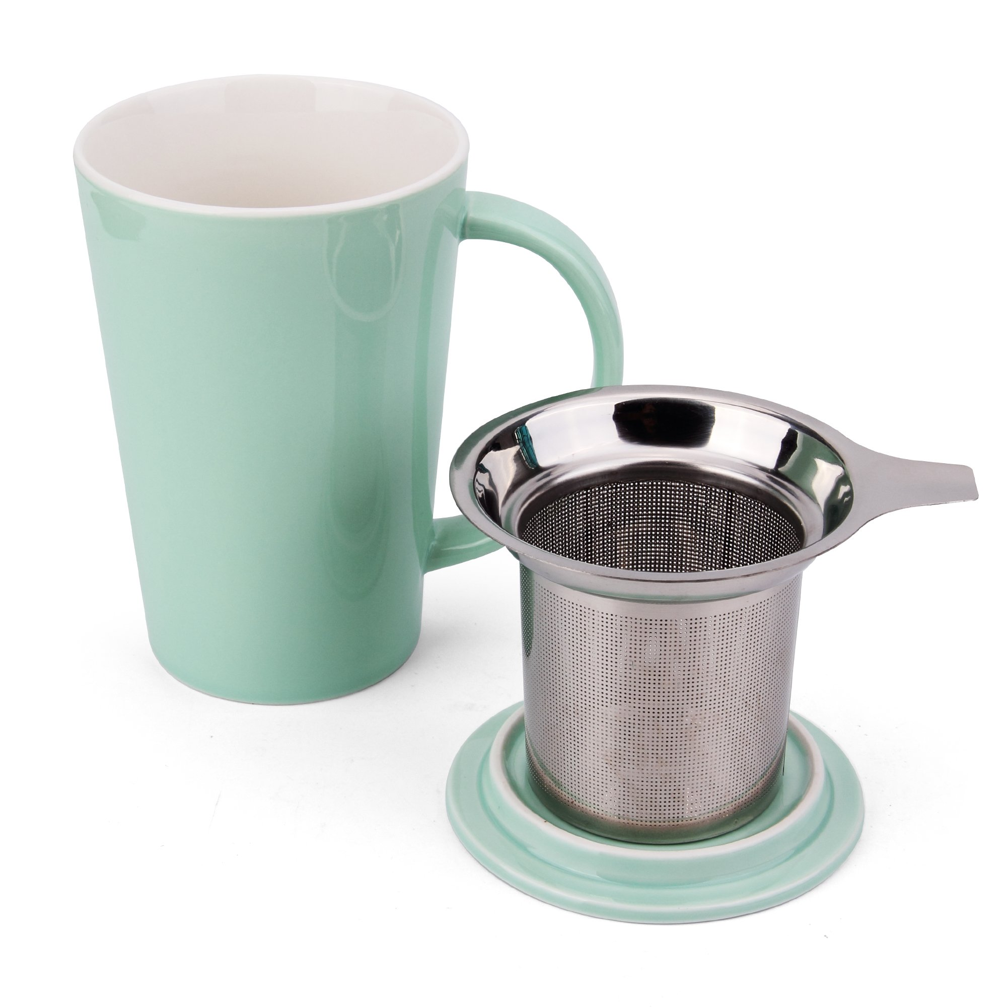 Fashion Simple Style Tea Mug with Infuser and Lid 14 OZ (Mint Green set of 1)
