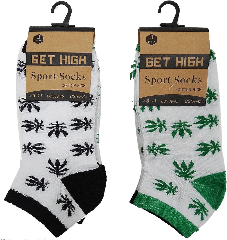 6 Pairs Mens Cotton Weed Leaf Print Ankle Socks Liners Cannabis Marijuana Size 6-11