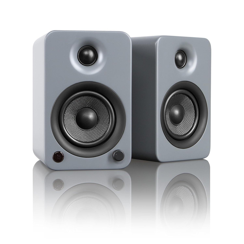 "Kanto YU3 4"" 2-Way Powered Bookshelf Speakers with aptX Bluetooth 4.0 - Matte Grey (YU3MG)"