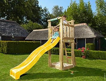 Jungle Gym Jungle Tower Amarillo Parques Infantiles de Madera para Jardin con Tobogan: Amazon.es: Juguetes y juegos