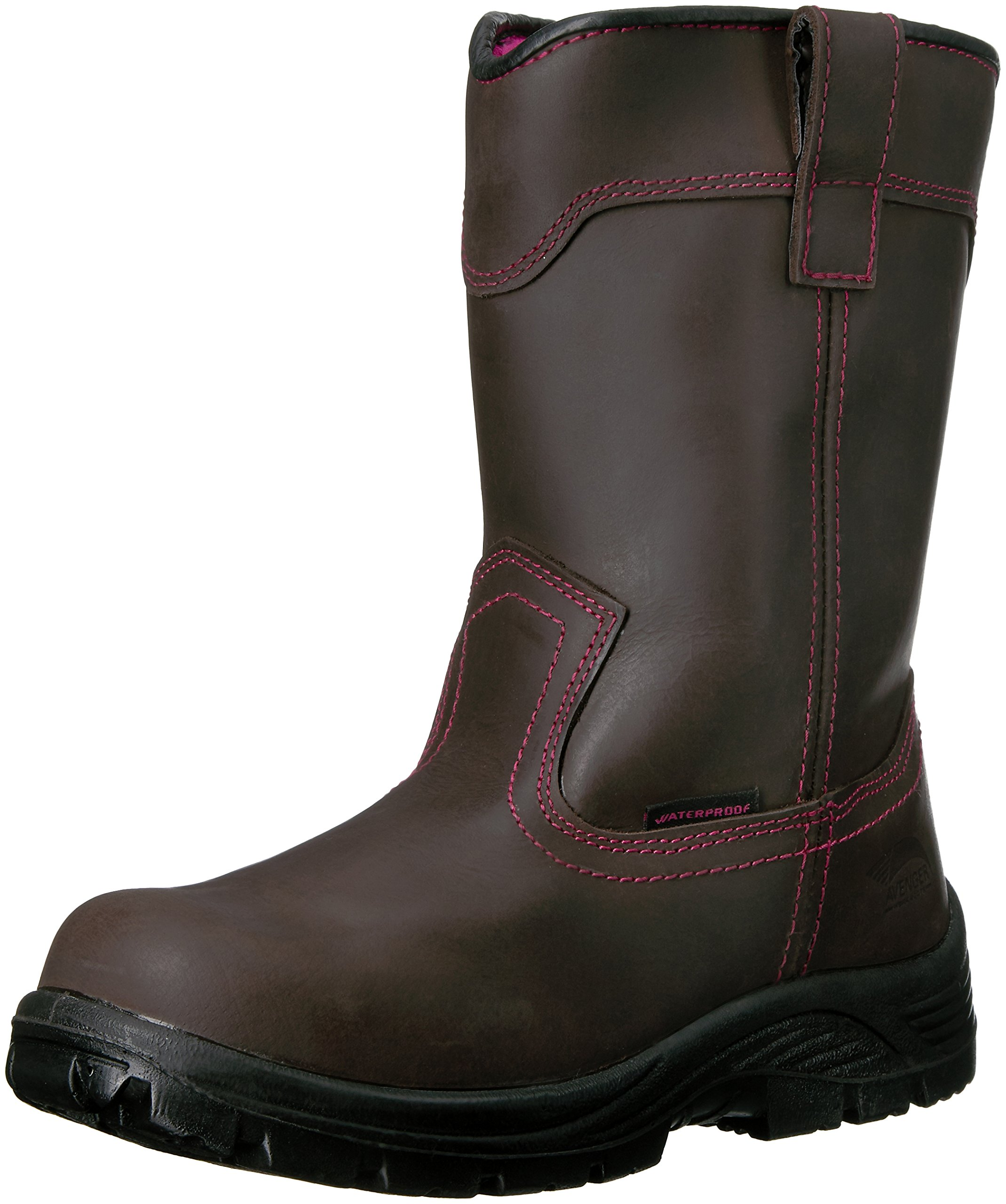 Avenger Safety Footwear Women's Avenger 7146 Comp Toe Waterproof Pull on EH Work Boot Industrial and Construction Shoe, Brown, 7.5 M US