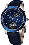 Graham The Moon Mens Flying-Tourbillon Moon-Retrograde 8 Piece Limited Edition Watch - 46mm 18K White Gold Watch with Blue Face and 48 Diamond Constellation - Blue Leather Band Swiss Made Luxury Watch