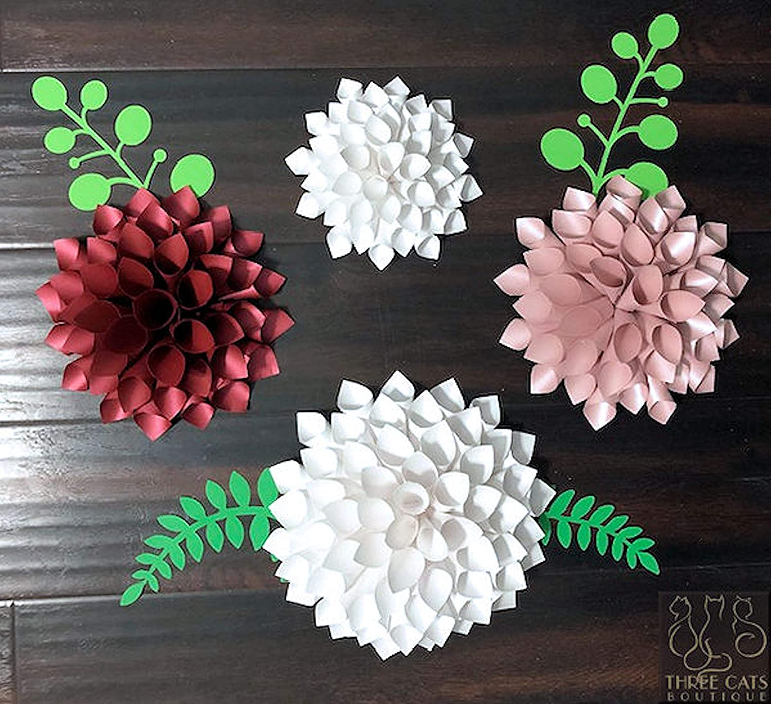 First Birthday Party Decor Candy Buffets Bar Decor Wedding Table Decor Paper Dahlias with Stems Centerpiece Flowers