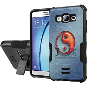 Galaxy [On5] Armor Case [NakedShield] [Black/Black] Urban Shockproof Defender [Kick Stand] - [Blue Ying Yang] for Samsung Galaxy [On5]