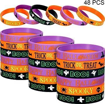 48 pulseras de silicona para Halloween, pulseras de goma, araña y calabaza, fantasma, banda de goma para decoración de Halloween, recuerdos de fiesta para niños y niñas: Amazon.es: Juguetes y juegos