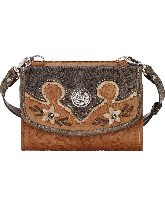 American West Women's Desert Wildflower Small Crossbody Bag/Wallet Tan One Size