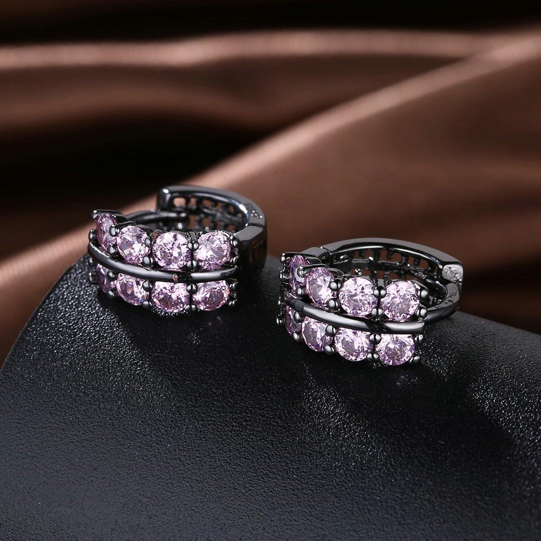 MoAndy Jewelry Black Plated Women Stud Earring Zircon Double Row Round Hook