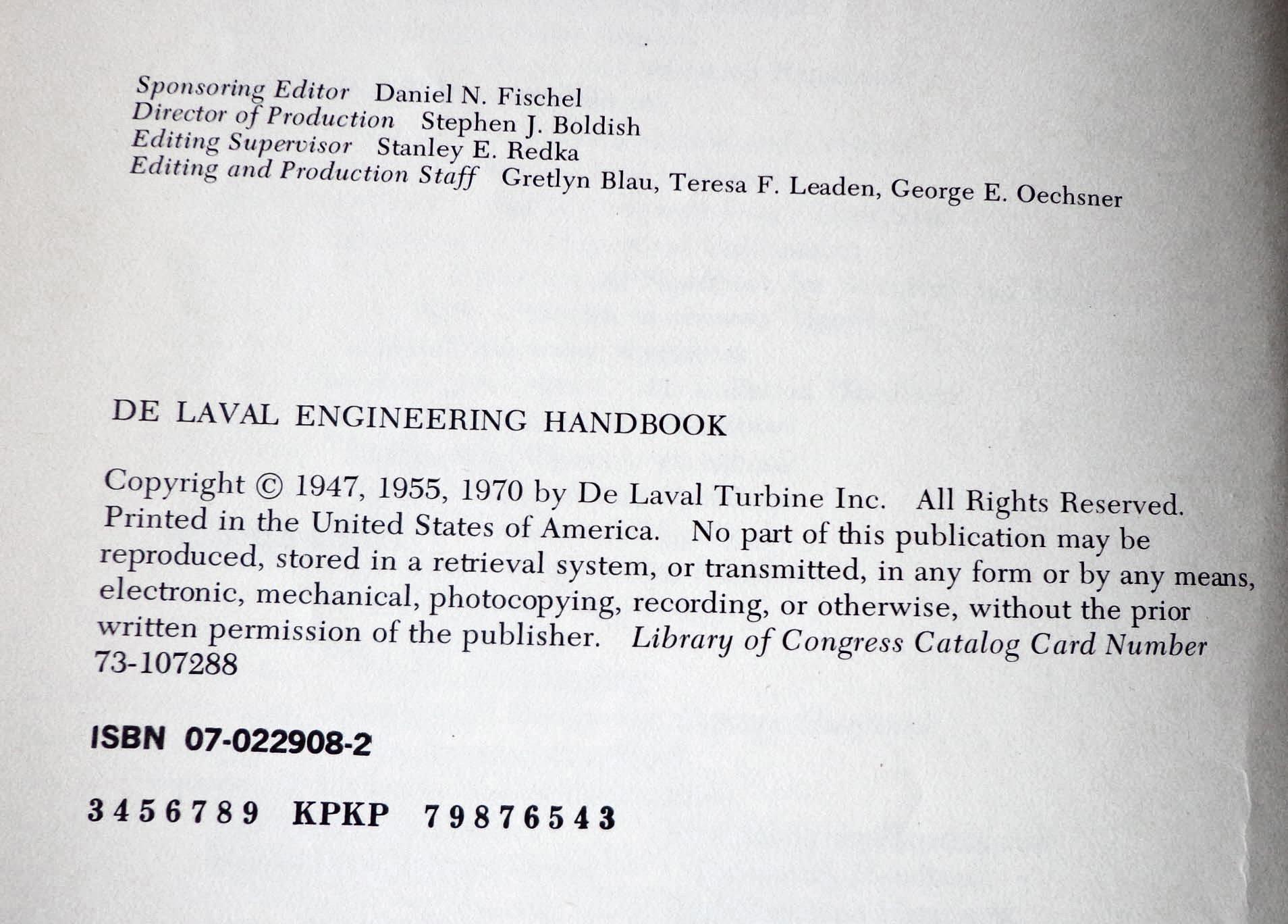 De Laval Engineering Handbook De Laval Turbine Inc