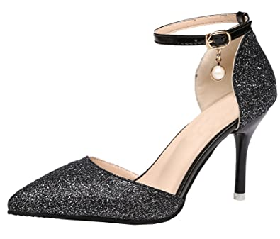 a9aebc432d7d Vitalo Women's High Heel Ankle Strap Glitter Sparkly Court Shoes Ladies  Pointed Toe Wedding Bridal Pumps