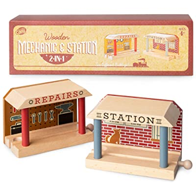 Conductor Carl Wooden Train Track Mechanic & Station Service Building 2-in-1 Mechanic Service & Train Station for Customizing Wooden Train Track Sets: Toys & Games