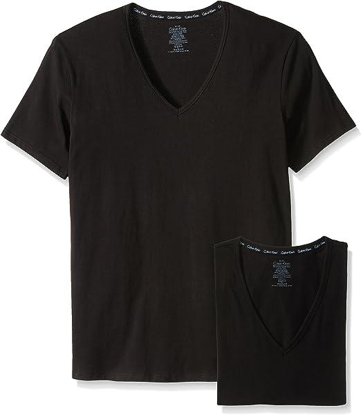 Calvin Klein Hombres de 2 Moderno algodón elástico V-Neck T-Shirt ...