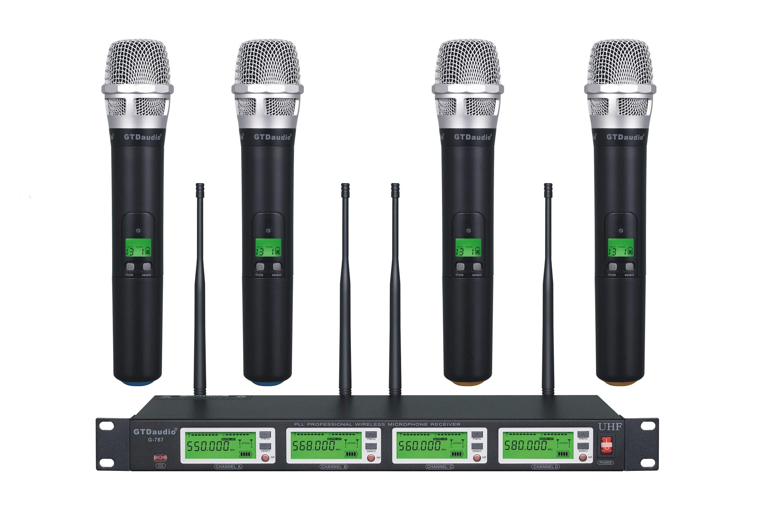 GTD Audio 4x800 Selectable Frequency Channel UHF Diversity Wireless Handheld Microphone Mic System 787 (4 Hand held Mics) by GTDaudio
