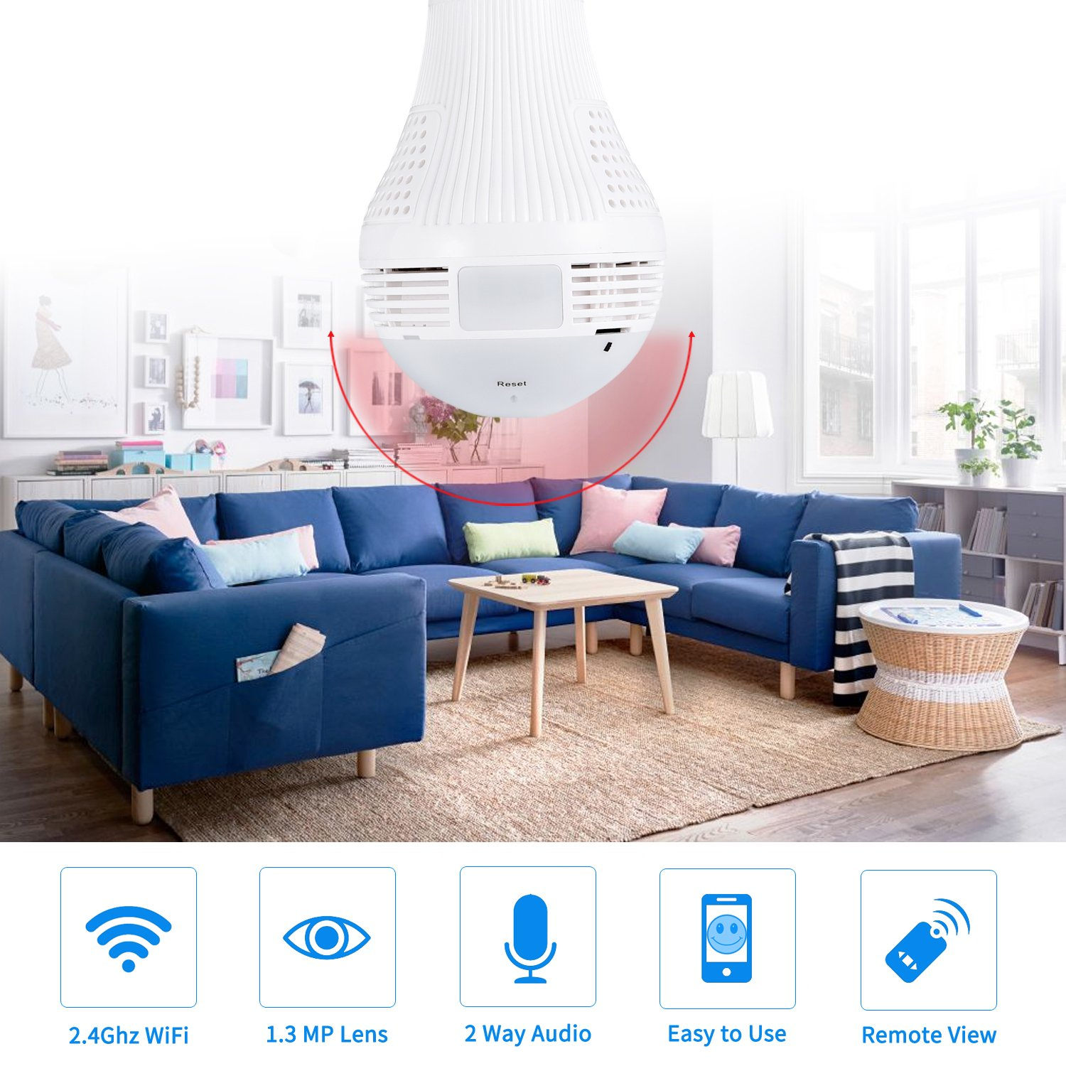 360 Degree Panoramic Camera WiFi IP Bulb Camera 960P Fisheye Lens Home Security Camera System Wireless Camera for Kids & Pets Monitor with iOS/Android App Easy Installation for Large Area Monitoring by Mykit (Image #3)