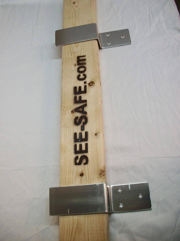 """Heavy Duty Drop Bar Security Door Lock Brackets Set of 2-Fits 2/""""x4/"""" Lumber."""
