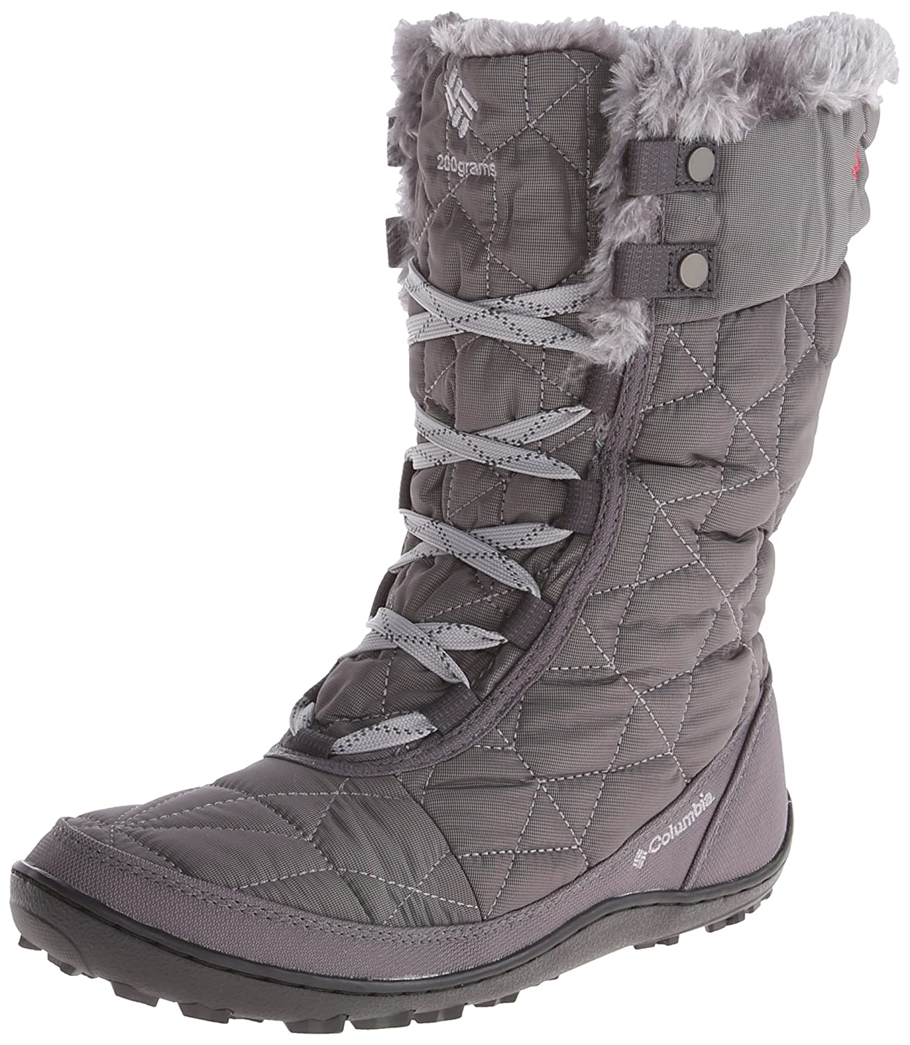 Columbia Women's Minx Mid II Omni-Heat Winter Boot B00GW8GNBY 6.5 B(M) US|Shale, Bright Red