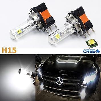 Super brillante Blanco 80 W de alta potencia CREE H15 - Bombillas LED para VW Volkswagen Audi BMW Mercedes Luces De Conducción Diurna 2009 - 2015: ...