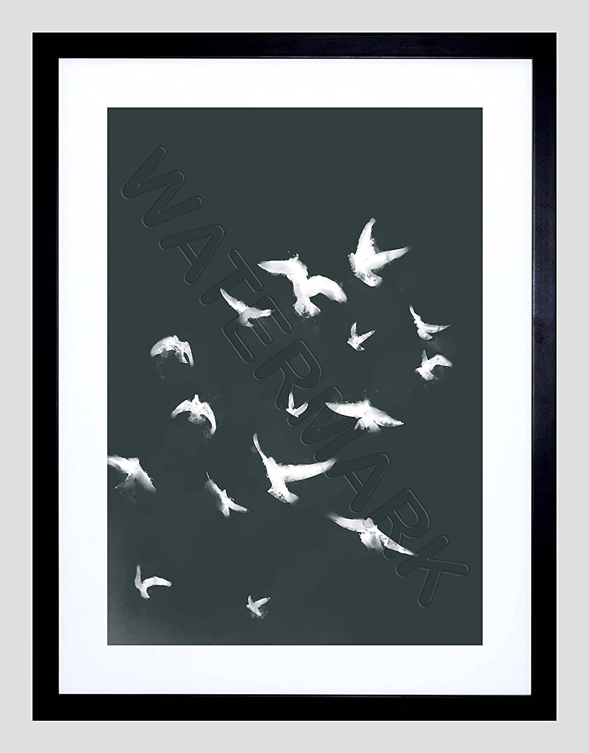 Amazon.com: Flock Of Birds Silhouette Black White 12x16 Framed Art Print F12x12095: Posters & Prints