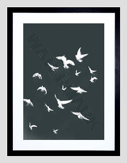 amazon com flock of birds silhouette black white 12x16 framed art