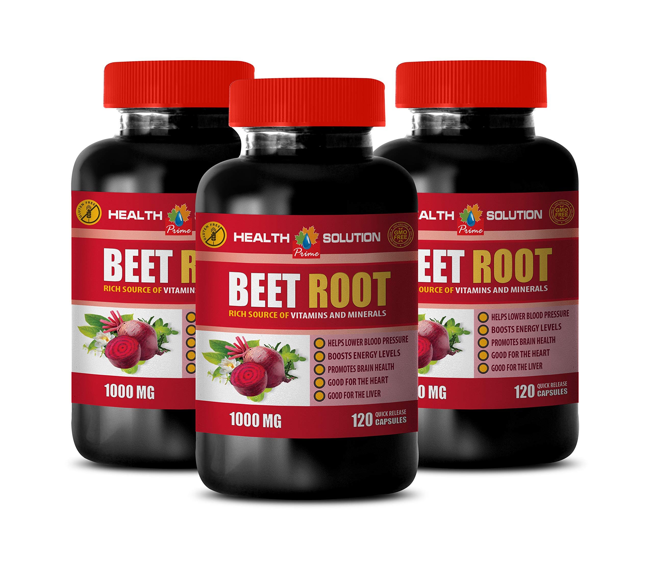 Brain Support Formula - Beet Root 1000MG - Rich Source of Vitamins and Minerals - Beets Supplements for Men - 3 Bottles 360 Capsules by Health Solution Prime