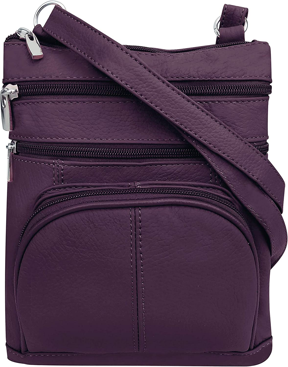 Roma Leathers Crossbody Zippered Purse - 3 Front Pockets, Adjustable Strap