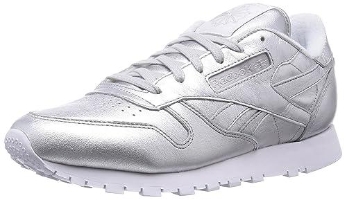 Reebok CL LTHR Spirit, Zapatillas de Running para Mujer, Plateado/Blanco (Presence/White), 37 1/2 EU: Amazon.es: Zapatos y complementos