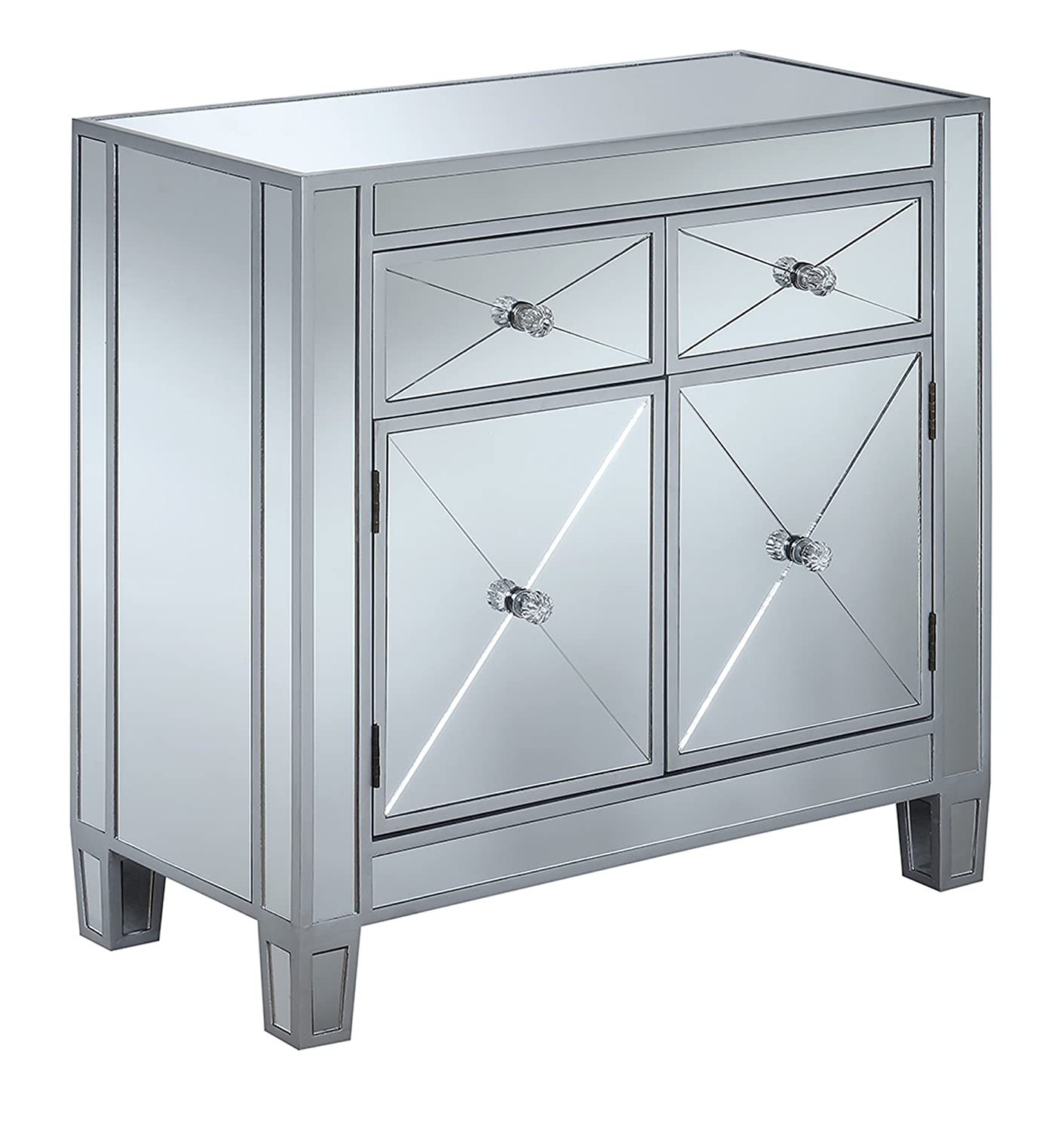 Amazon.com: Convenience Concepts Gold Coast Vineyard 2-Drawer Mirrored  Cabinet, Silver: Kitchen & Dining