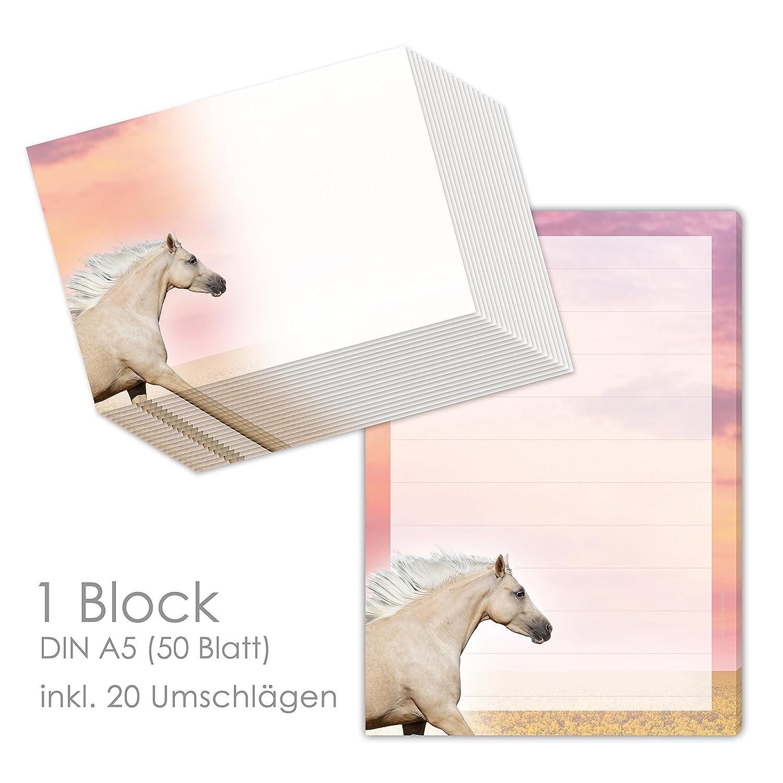 Briefpapier Set mit Pferde für Mädchen - Schreibblock / Briefblock PALOMINO/ PFERD DIN A5 (liniert 50 Blatt) inklusive 20 passenden Umschlägen / Briefpapier Set, Pferde, Mädchen Mädchen emufarm