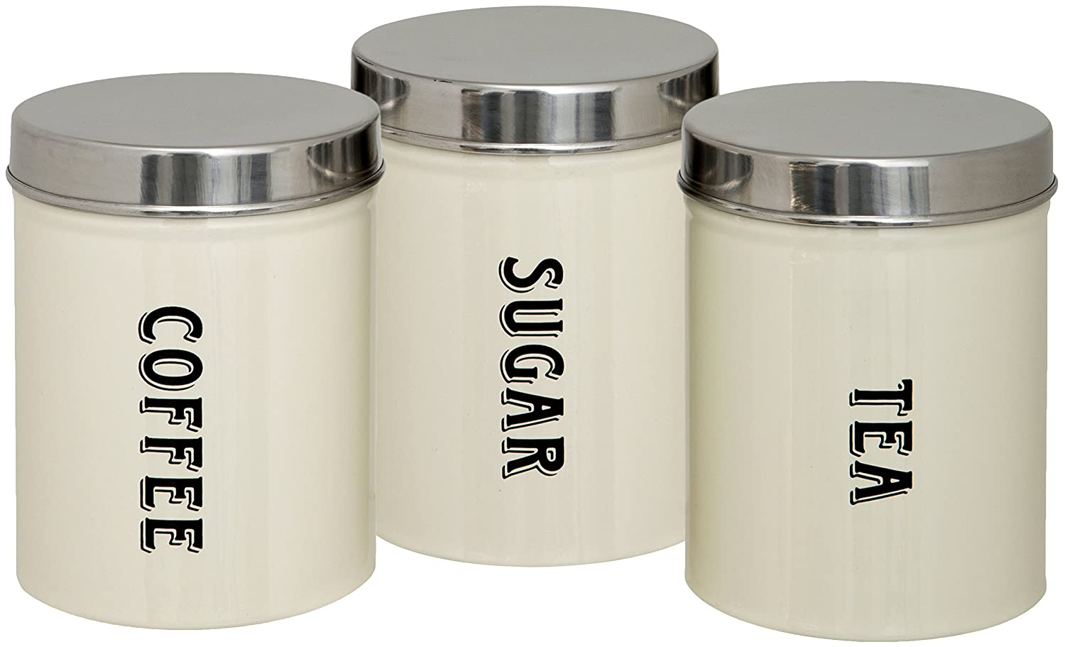 Amazon com maturi tea coffee sugar storage canisters set of 3 home kitchen