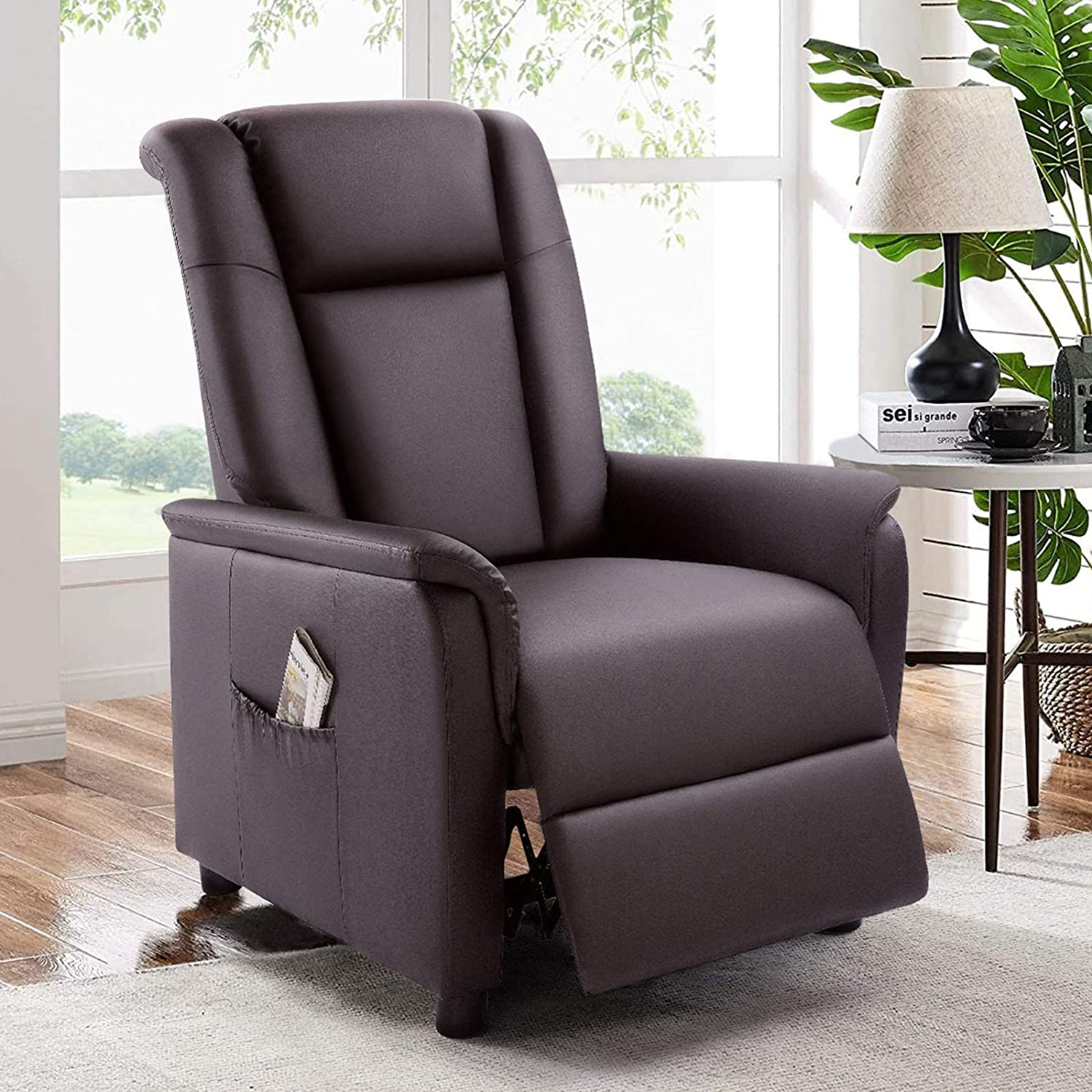 BOSSIN Single Recliner Chair Sofa Padded Seat PU Leather Living Room Sofa Recliner Modern Recliner Seat Club Chair Home Theater Seating with Pocket(Leather, Brown)