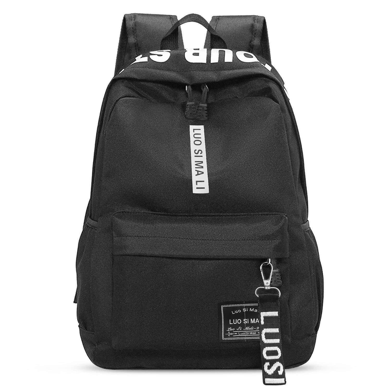 AODOOR Schultaschen, Schulrucksack Schultaschen Teenager Freizeitrucksack Wasserdichte Kinderrucksack für Damen Herren, Schwarz