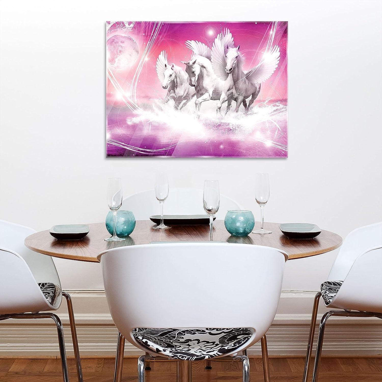 FORWALL - Cuadro de Cristal para Pared con diseño de Pegaso sobre Fondo Rosa (Cristal Impreso, AMF20280_GT), Vidrio, Rosa, Blanco y Rojo, G5 (80cm. x 60cm.)