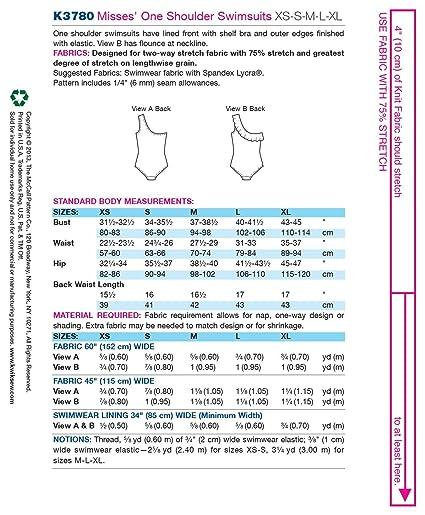 05de02751a8 Amazon.com  Kwik Sew K3780 One Shoulder Swimsuits Sewing Pattern ...
