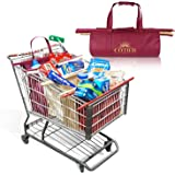 Reusable Grocery Bag Trolley Bag Shopping Cart System w/ Large Insulated Cooler Grocery Tote | Eco-Friendly Heavy Duty 4 Bag Set | Fits USA Standard & Warehouse Club Shopping Carts by COTIER BRAND