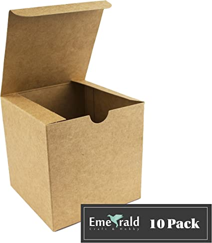 10 NEW Small BROWN KRAFT Gift Boxes 4x4x4 WEDDING BAKERY FAVOR PARTY Premium Box