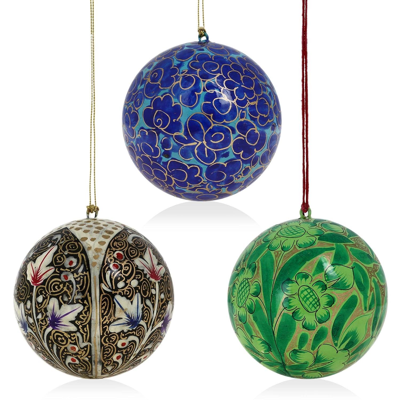Buy Set of 18 Paper Mache Ball Christmas Ornaments - Handmade ...