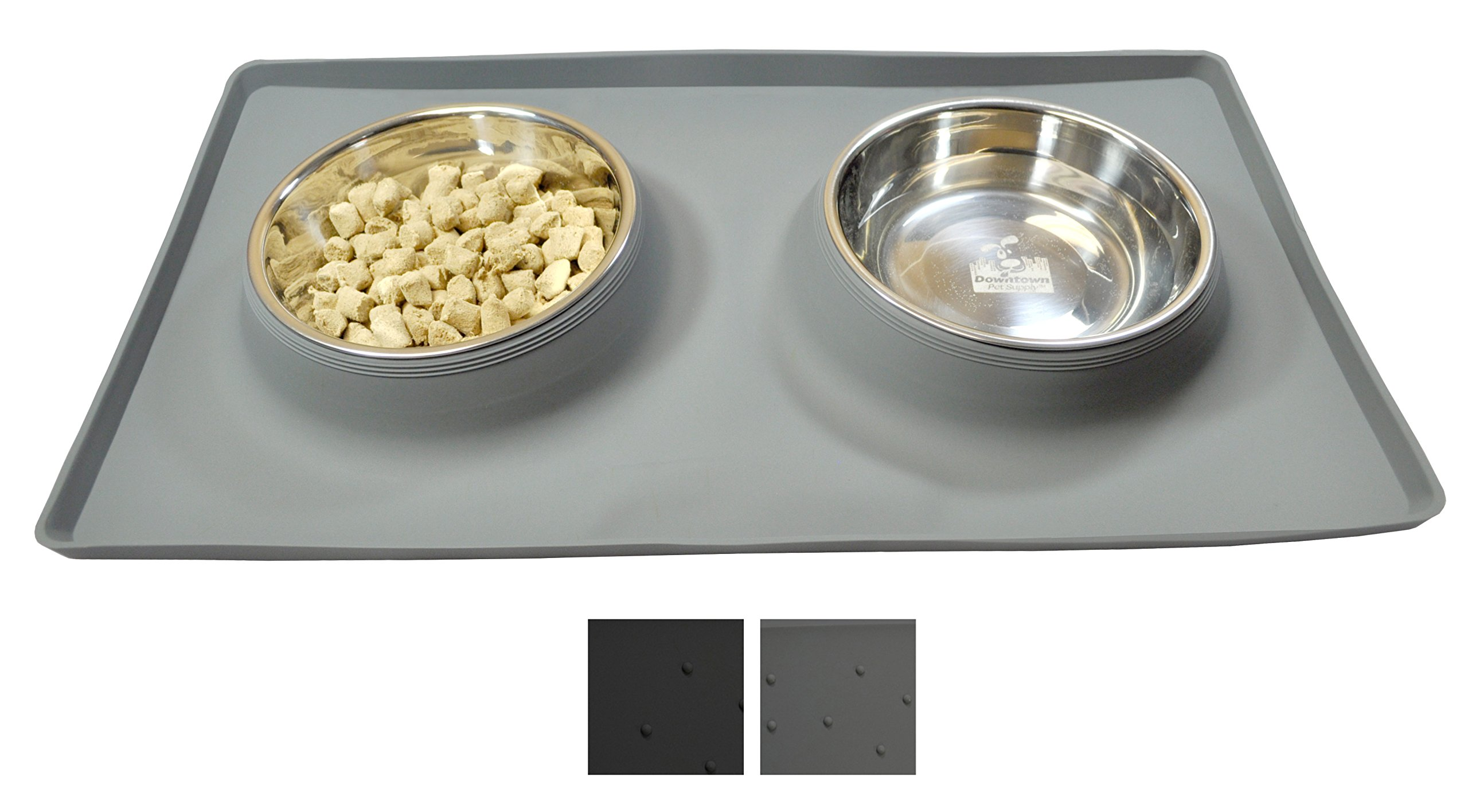 Downtown Pet Supply NO SPILL Dog Cat Food & Water Bowl, includes Custom Silicone Feeding Station Mat and Two Dog Bowls, Gray, 24 oz