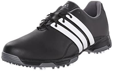 adidas Mens Pure TRX Golf Shoe BlackFtwr WhiteDark Silver Metallics